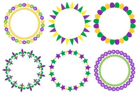Karneval-Perlen Farbigen Rahmen Mit Einer Maske Und Luftballons ...