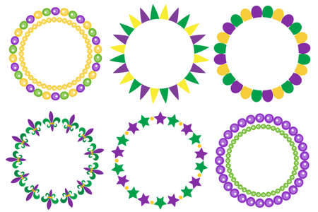 Mardi Gras frame set. Cute round border with space for text. Isolated on white background. Vector illustration