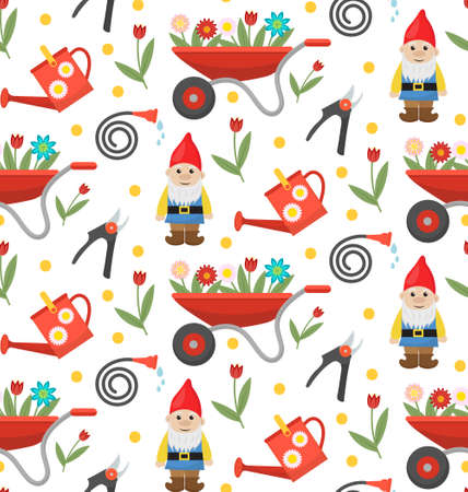 Gardening seamless pattern with gnome, flowers and tools. Spring endless background. Horticulture texture, wallpaper. Cute backdrop. Vector illustration