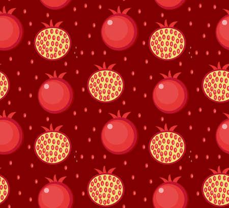 Pomegranate seamless pattern. Garnet fruit endless background, texture. Fruits background. Vector illustration Illustration