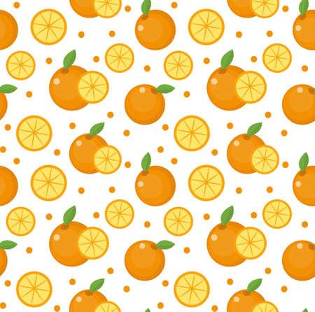 Orange seamless pattern. Mandarin citrus endless background, texture. Fruits background. Vector illustration 矢量图像