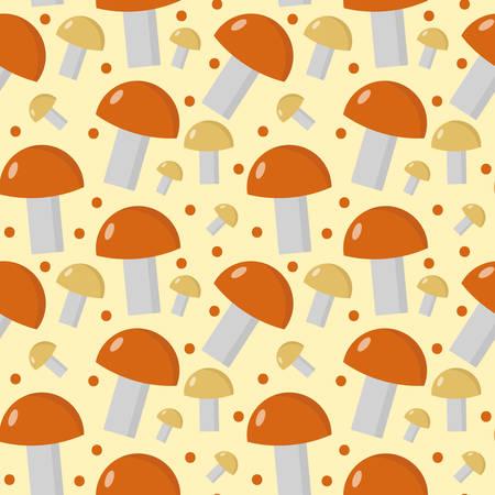 cep: Mushrooms seamless pattern. Boletus edulis endless background, texture. Vegetable background. Vector illustration