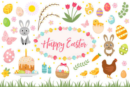Happy Easter collection object, design element. Easter spring set with cake, basket, eggs, bunny, flowers, nestlings and more. Vector illustration, clip art 矢量图像