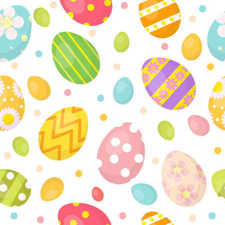 Easter eggs cute seamless pattern, endless backdrop. Colorful eggs background, texture, digital paper. Vector illustration