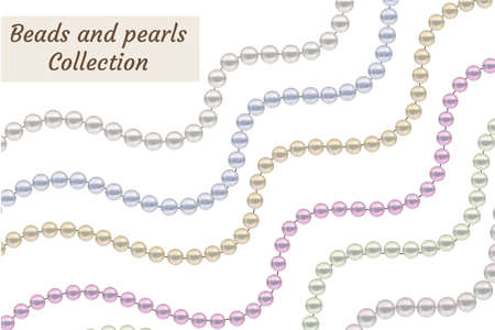 Realistic beads of pearls set. Collection borders jewelry decoration. Vector illustration