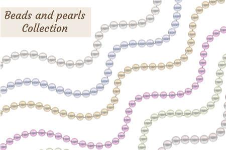 真珠の現実的なビーズを設定します。コレクション境界線宝石装飾。ベクトル図