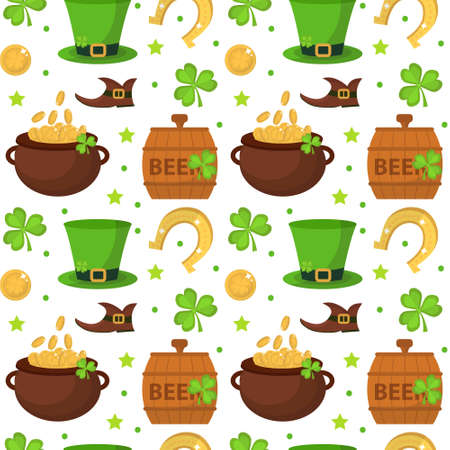 seamless clover: St. Patricks Day seamless pattern. Endless background texture. Vector illustration