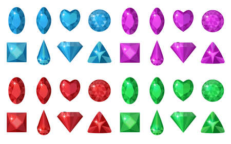 Multi-colored gems set. Jewelry, crystals collection isolated on white background. Diamonds  different  cut. Colorful gemstones collection. Realistic, cartoon style. Vector illustration, clip art Illustration