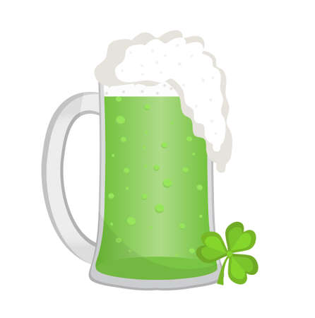 Green beer, icon flat style. St. Patricks Day symbol. Isolated on white background. Vector illustration Stock Photo