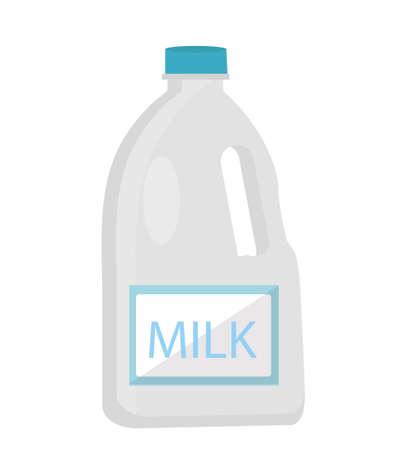 Leche en estilo plano de botellas de plástico. Aislado en el fondo blanco. Ilustración vectorial Foto de archivo - 70585240