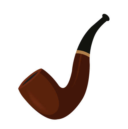 Smoking pipe, icon flat style. St. Patricks Day symbol. Isolated on white background. Vector illustration