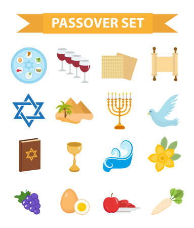 seder: Passover icons set. flat, cartoon style. Jewish holiday of exodus Egypt. Collection with Seder plate, meal, matzah, wine, torus, pyramid. Isolated on white background Vector illustration Stock Photo
