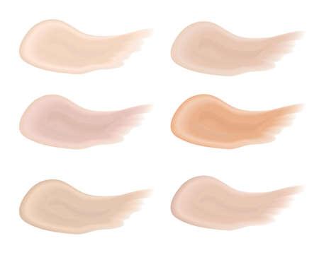 Realistic bb cream strokes set. Multicolored palette splashes skin tone, Foundation Make Up. Isolated on white background. Vector illustration. Stock Photo