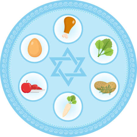 Seder plate of food, flat style. Jewish holiday of Passover. Isolated on white background. Vector illustration