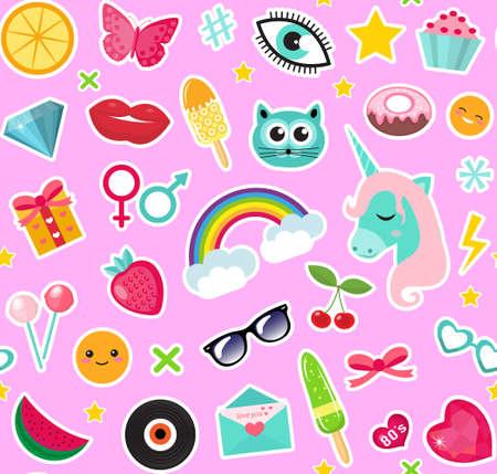 패치 80s 만화 스타일의 패션 원활한 패턴입니다. 핀, 배지 및 스티커 컬렉션 만화 팝 아트 유니콘, 무지개, 입술, 이모티콘. 벡터 일러스트 레이 션 일러스트
