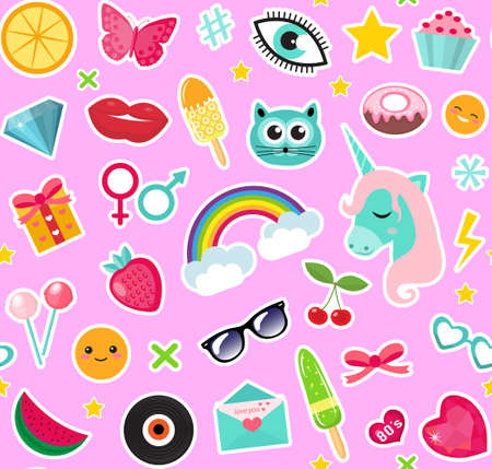 Fashion seamless pattern of patches 80s comic style. Pins, badges and stickers Collection cartoon pop art with a unicorn, rainbow, lips, emoji. Vector illustration Ilustração