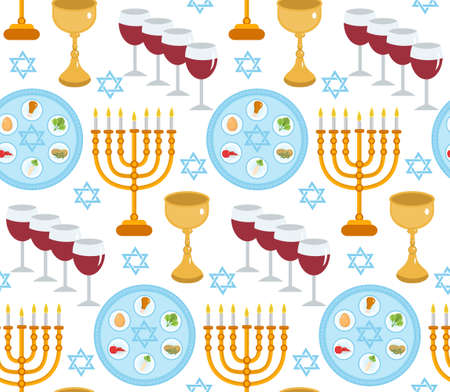 seder plate: Passover seamless pattern. Pesach endless background, texture. Jewish holiday backdrop. Vector illustration