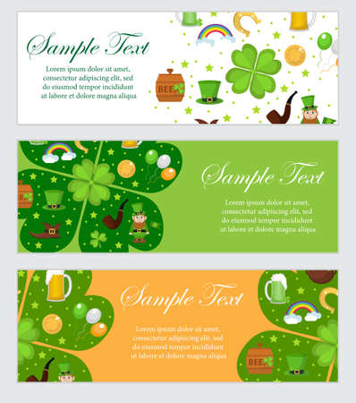northern ireland: St. Patricks Day banner template for your design. Horizontal Border set. Vector illustration