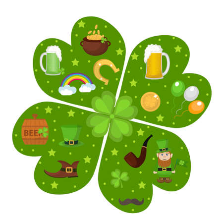 St. Patricks Day icon set in clover-shape design element. Traditional irish symbols in modern flat style. Isolated on white background. Vector illustration, clip art