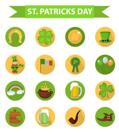 St. Patricks Day icon set design element. Traditional irish symbols in modern flat style. Isolated on white background. Vector illustration, clip art 向量圖像