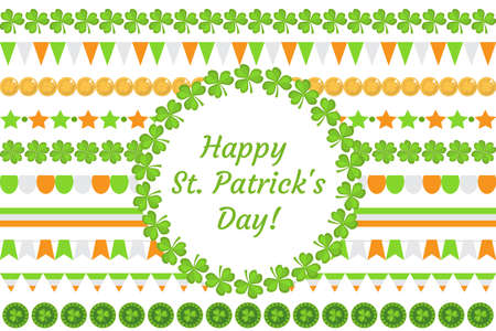 St. Patricks Day border garland with clover, shamrock, flags, bunting. Isolated on white background. Vector illustration, clip art Illustration