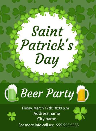 Invitación Feliz Del Día Del St. Patricks, Cartel, Aviador. Beer ...