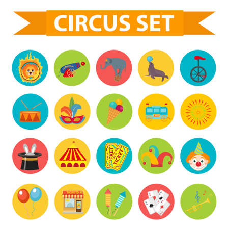 fire and ice: Circus icon set, flat, cartoon style. Illustration