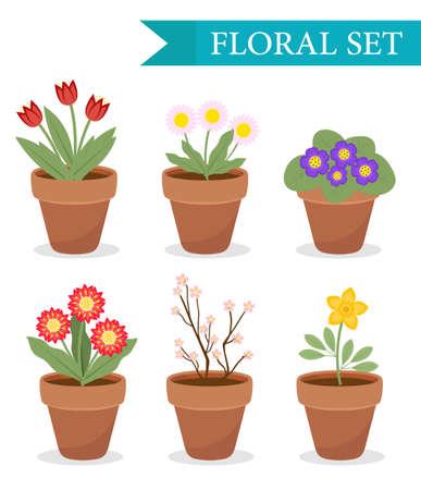 설정 다른 꽃, 평면 스타일로 꽃 냄비. 화분 컬렉션 흰색 배경에 고립입니다. 벡터 일러스트, 클립 아트