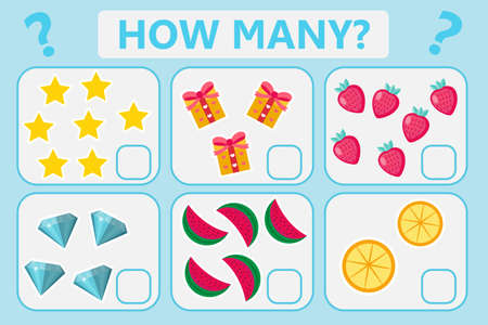 Childrens educational logic game. Mathematical task. How many. Vector illustration