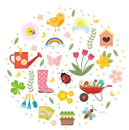 Spring icons set in round shape, flat style. Gardening cute collection of design elements, isolated on white background. Nature clip art. Vector illustration