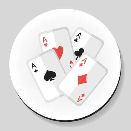 ace of hearts: Playing Cards 4 Aces sticker icon flat style. Vector illustration