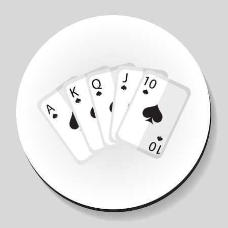 Playing cards pocker  royal flash combination sticker icon flat style. Vector illustration Illustration