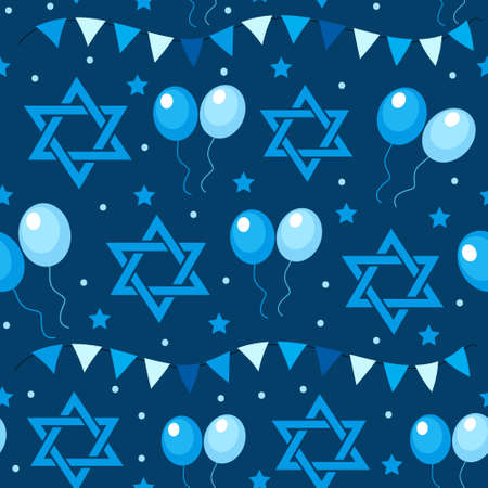 Happy Israel Independence Day seamless pattern with flags and bunting. Jewish Holidays endless pattern, texture. Jewish backdrop. Vector illustration