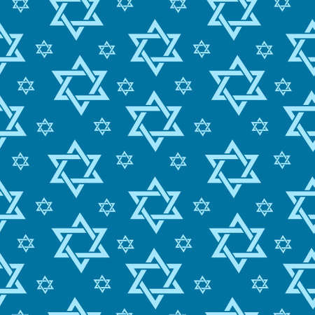 Happy Israel Independence Day seamless pattern with flags and bunting. Jewish Holidays endless background, texture. Jewish backdrop. Vector illustration Vettoriali