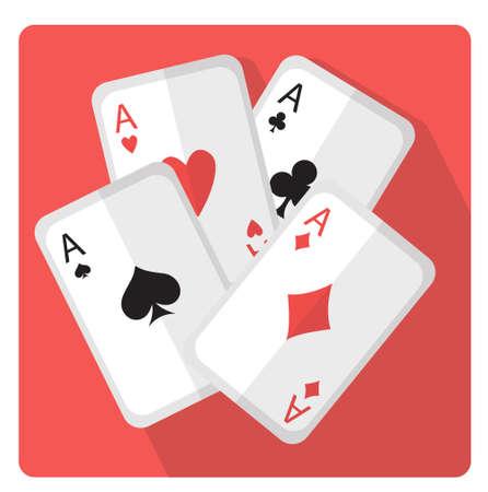 Spielkarten mit flacher Art der Asseikone mit den langen Schatten, lokalisiert auf weißem Hintergrund. Vektor-illustration