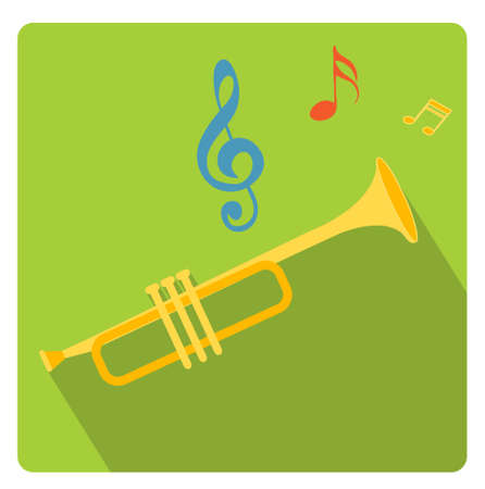 Trumpet musical instrument icon flat style with long shadows, isolated on white background. Vector illustration