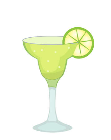 Cocktail glass for Margarita and tequila with lime slice icon flat, cartoon style. 矢量图像