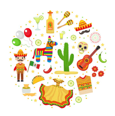 Cinco de Mayo celebration in Mexico, icons set in round shape, design element, flat style.