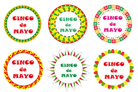 Cinco de Mayo set of round frames with space for text. Isolated on white background. Illustration
