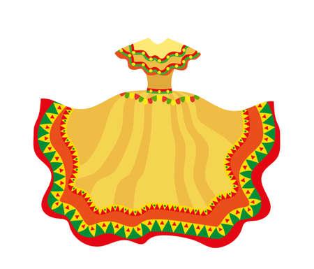 Mexican dress icon, flat style. Traditional Mexican female apparel. Illusztráció