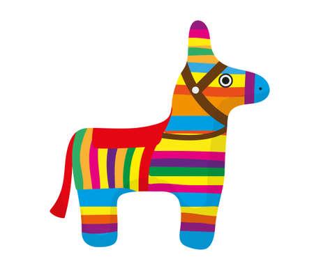Pinata icon, flat style. Donkey colorful. Isolated on white background. Illustration