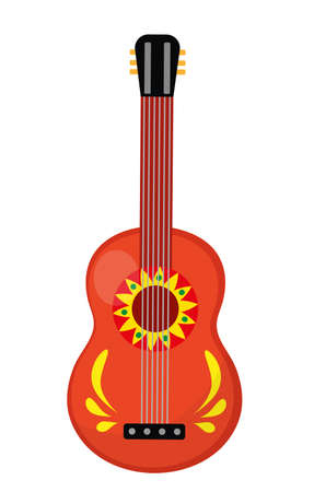 melodic: Cuatro guitar icon, flat style. Mexican musical instrument. Isolated on white background. Vector illustration, clip-art