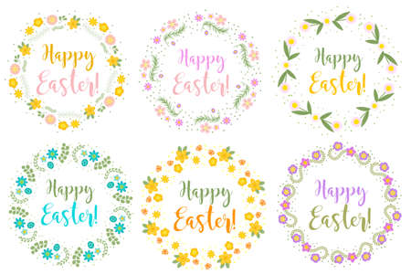 Happy Easter set floral frame for text, isolated on white background. Vector illustration. Illustration
