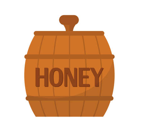 Barrel of honey icon, flat style. Isolated on white background. Vector illustration, clip-art. Illustration