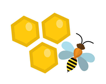 beeswax: Honeycomb and bee icon, flat style. Isolated on white background. Vector illustration, clip-art.