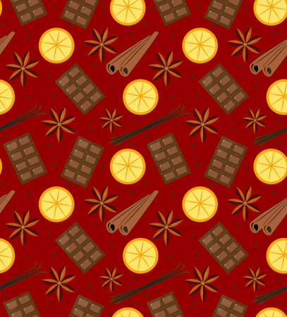 Spices seamless pattern. Mulled wine and chocolate endless background, texture. Vector illustration. Illustration