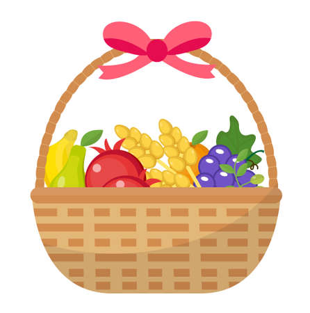 Fruit Basket icon, flat, cartoon style. Jewish holiday Shavuot, food concept. Pomegranate, grapes, wheat, olives. Isolated on white background Vector illustration clip-art.