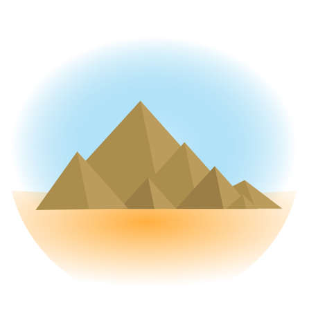 Mountain icon, flat, cartoon style. Jewish religious holiday Shavuot, Mount Sinai concept. Isolated on white background. Vector illustration, clip-art.  イラスト・ベクター素材