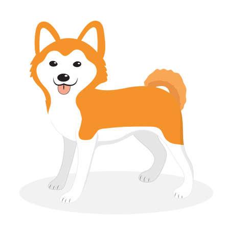 akita: Akita Inu breed dog icon, flat, cartoon style. Cute puppy isolated on white background. Vector illustration, clip-art. Illustration