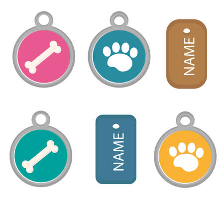 Medallion, dog tag set of icons, flat, cartoon style. Isolated on white background. Vector illustration, clip-art.